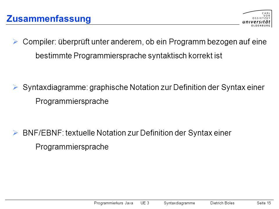 Programmierkurs JavaUE 3 SyntaxdiagrammeDietrich BolesSeite 15 Zusammenfassung Compiler: überprüft unter anderem, ob ein Programm bezogen auf eine bes