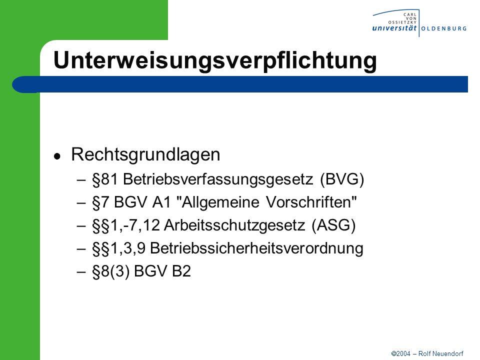 2004 – Rolf Neuendorf Unterweisungsverpflichtung Rechtsgrundlagen –§81 Betriebsverfassungsgesetz (BVG) –§7 BGV A1