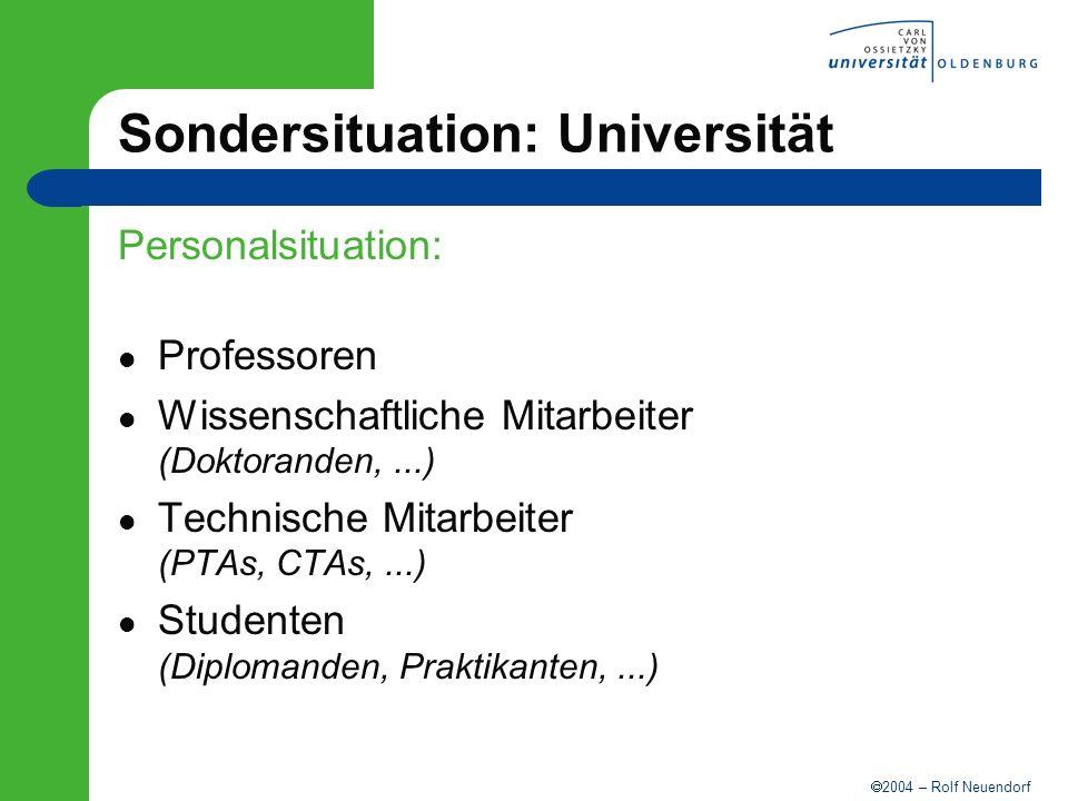 2004 – Rolf Neuendorf Sondersituation: Universität Personalsituation: Professoren Wissenschaftliche Mitarbeiter (Doktoranden,...) Technische Mitarbeit