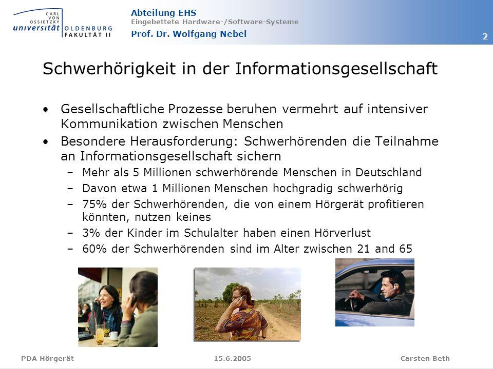 Abteilung EHS Eingebettete Hardware-/Software-Systeme Prof. Dr. Wolfgang Nebel Carsten Beth 2 15.6.2005PDA Hörgerät Schwerhörigkeit in der Information
