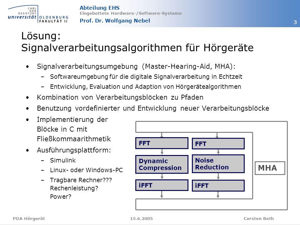 Abteilung EHS Eingebettete Hardware-/Software-Systeme Prof. Dr. Wolfgang Nebel Carsten Beth 3 15.6.2005PDA Hörgerät Signalverarbeitungsumgebung (Maste
