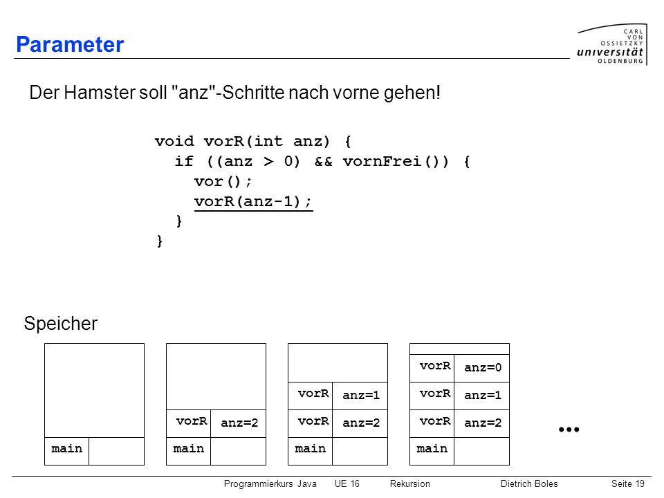 Programmierkurs JavaUE 16 RekursionDietrich BolesSeite 19 Parameter Der Hamster soll anz -Schritte nach vorne gehen.