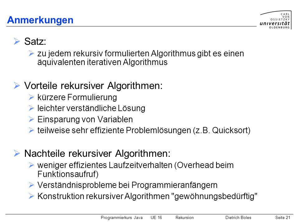 Programmierkurs JavaUE 16 RekursionDietrich BolesSeite 21 Anmerkungen Satz: zu jedem rekursiv formulierten Algorithmus gibt es einen äquivalenten iterativen Algorithmus Vorteile rekursiver Algorithmen: kürzere Formulierung leichter verständliche Lösung Einsparung von Variablen teilweise sehr effiziente Problemlösungen (z.B.