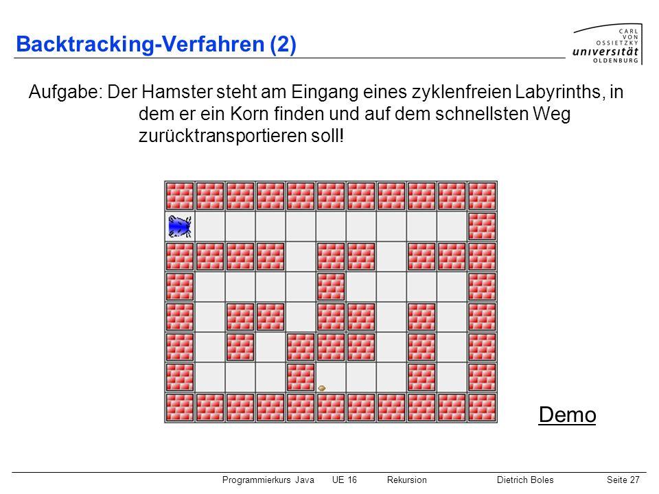 Programmierkurs JavaUE 16 RekursionDietrich BolesSeite 27 Backtracking-Verfahren (2) Aufgabe: Der Hamster steht am Eingang eines zyklenfreien Labyrinths, in dem er ein Korn finden und auf dem schnellsten Weg zurücktransportieren soll.