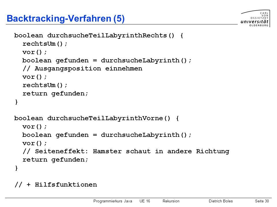 Programmierkurs JavaUE 16 RekursionDietrich BolesSeite 30 Backtracking-Verfahren (5) boolean durchsucheTeilLabyrinthRechts() { rechtsUm(); vor(); bool