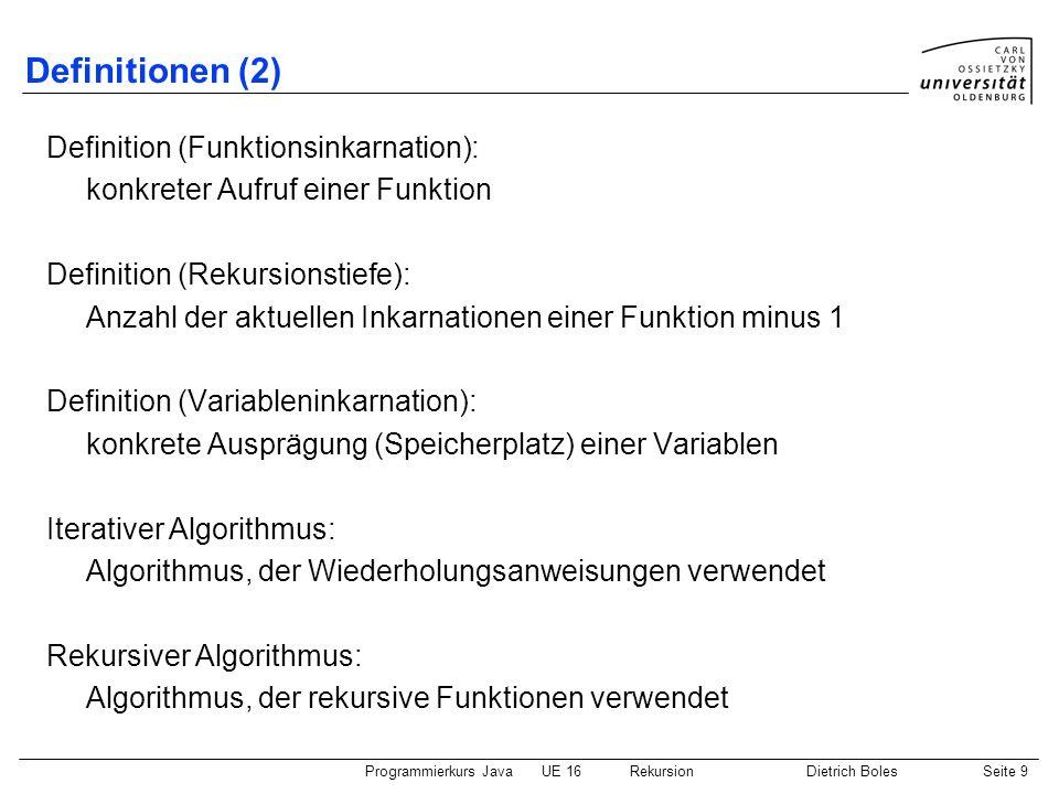 Programmierkurs JavaUE 16 RekursionDietrich BolesSeite 30 Backtracking-Verfahren (5) boolean durchsucheTeilLabyrinthRechts() { rechtsUm(); vor(); boolean gefunden = durchsucheLabyrinth(); // Ausgangsposition einnehmen vor(); rechtsUm(); return gefunden; } boolean durchsucheTeilLabyrinthVorne() { vor(); boolean gefunden = durchsucheLabyrinth(); vor(); // Seiteneffekt: Hamster schaut in andere Richtung return gefunden; } // + Hilfsfunktionen