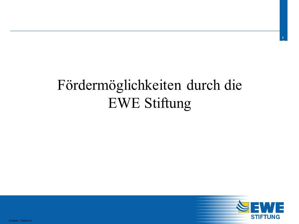 2 2 Verfasser, Dateiname Agenda -Hintergründe und Ziele der EWE Stiftung -Fördergrundsätze -Typische Förderprojekte -Antragsverfahren -Entscheidungsverfahren -Zahlen, Daten & Fakten