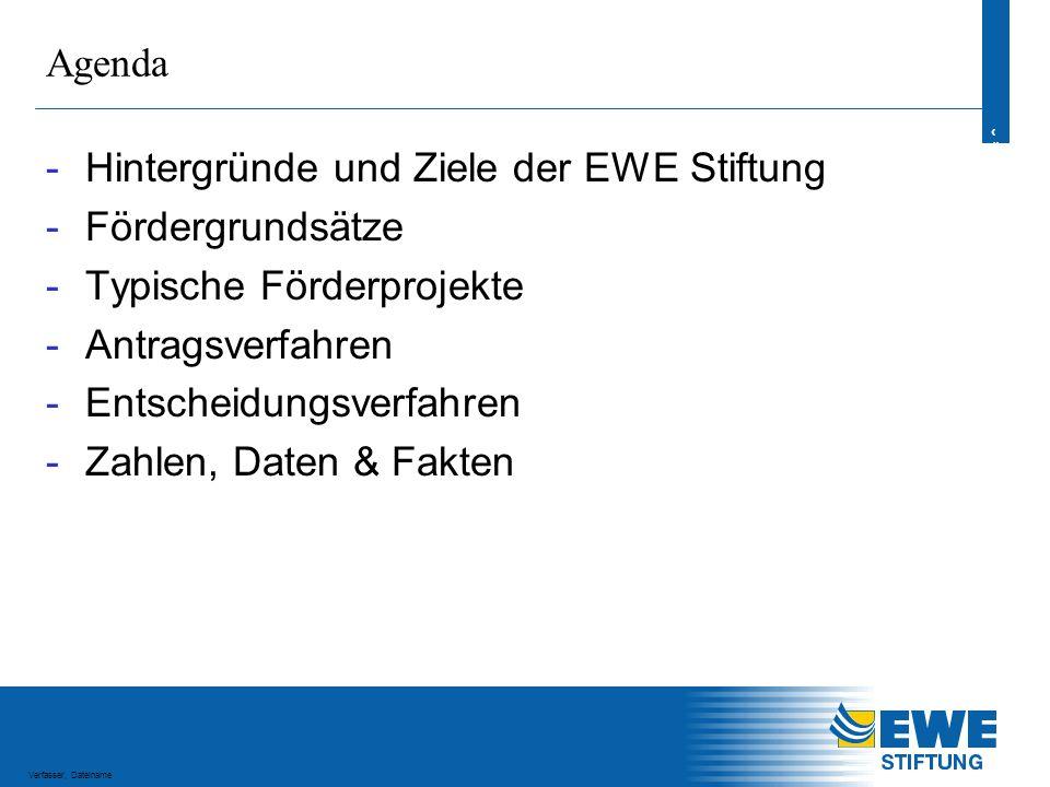 3 3 Verfasser, Dateiname Hintergründe und Ziele der EWE Stiftung Gründung der EWE Stiftung Ende 2001 als Stiftung des bürgerlichen Rechts mit Sitz in Oldenburg Stiftungskapital: EURO 25 Mio.