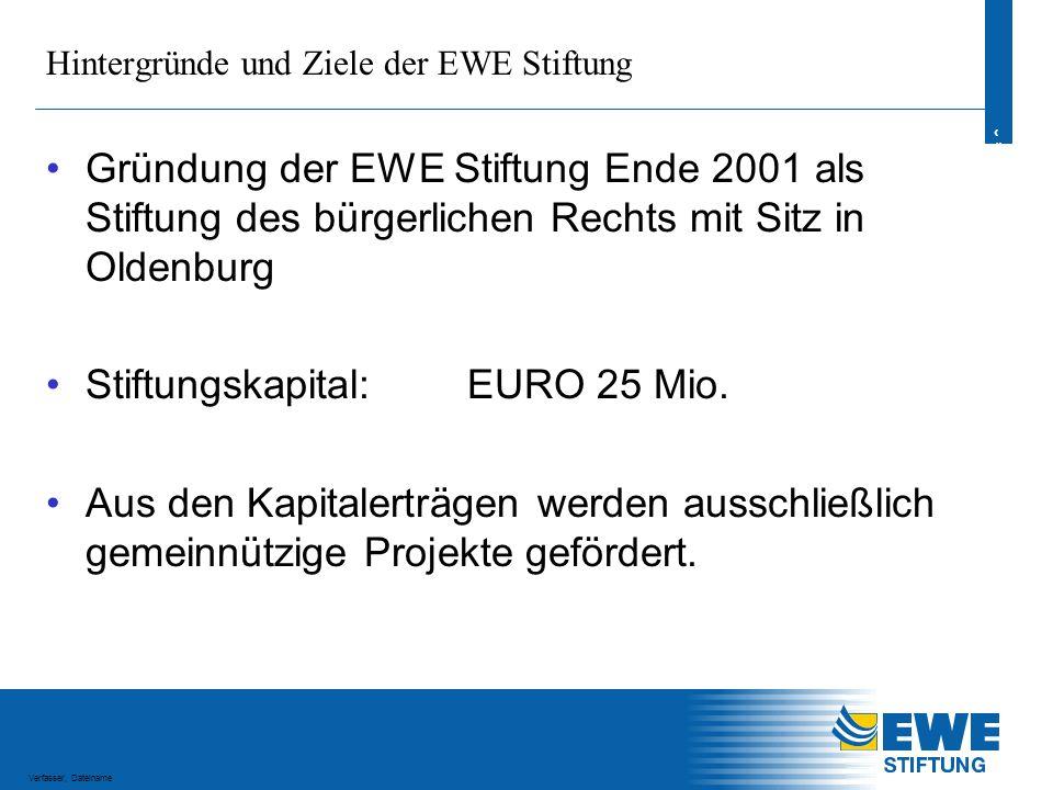 4 4 Verfasser, Dateiname Hintergründe und Ziele der EWE Stiftung Stifter ist die EWE AG EWE ist das größte Energiedienstleistungsunternehmen im Norden.