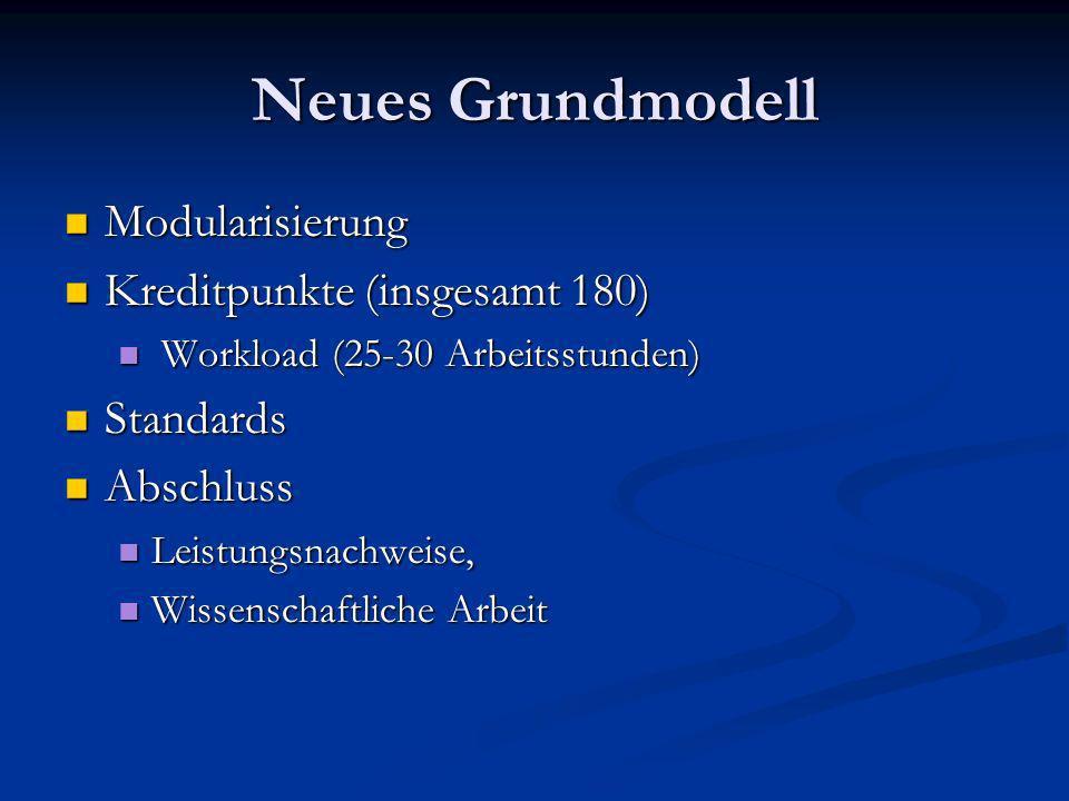 Neues Grundmodell Modularisierung Modularisierung Kreditpunkte (insgesamt 180) Kreditpunkte (insgesamt 180) Workload (25-30 Arbeitsstunden) Workload (