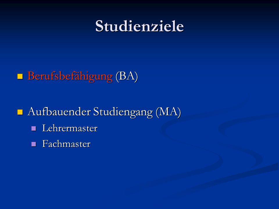 Studienziele Berufsbefähigung (BA) Berufsbefähigung (BA) Aufbauender Studiengang (MA) Aufbauender Studiengang (MA) Lehrermaster Lehrermaster Fachmaster Fachmaster