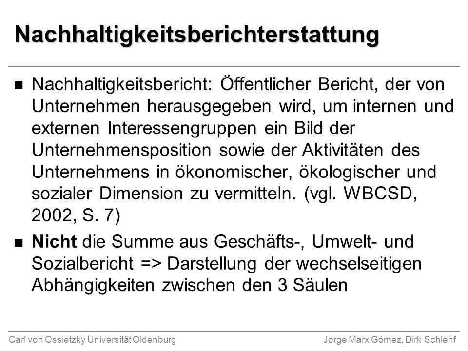 Carl von Ossietzky Universität OldenburgJorge Marx Gómez, Dirk Schlehf Nachhaltigkeitsberichterstattung n Nachhaltigkeitsbericht: Öffentlicher Bericht