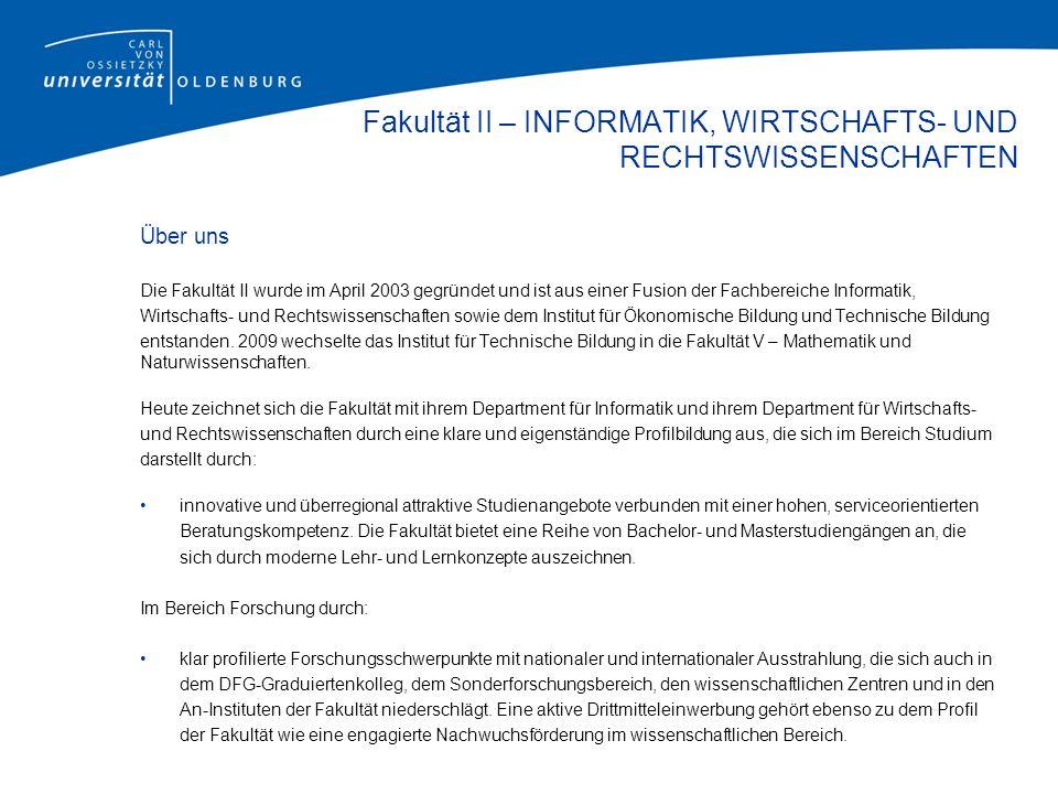 Fakultät II – INFORMATIK, WIRTSCHAFTS- UND RECHTSWISSENSCHAFTEN Stand1/2013
