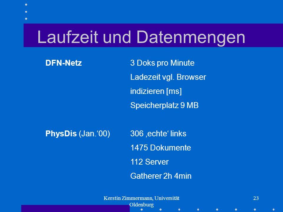 Kerstin Zimmermann, Universität Oldenburg 23 Laufzeit und Datenmengen DFN-Netz 3 Doks pro Minute Ladezeit vgl. Browser indizieren [ms] Speicherplatz 9