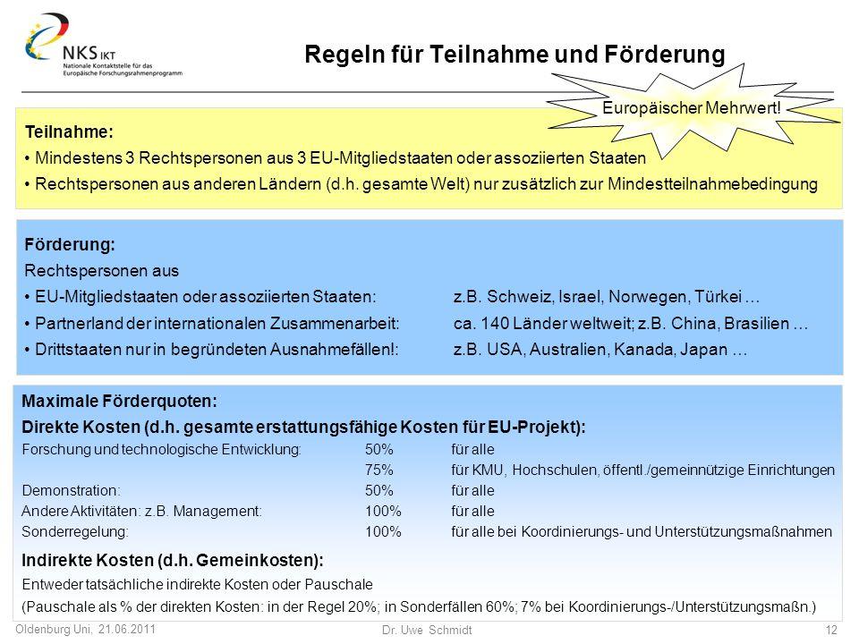 Dr. Uwe Schmidt 12 Oldenburg Uni, 21.06.2011 Regeln für Teilnahme und Förderung Teilnahme: Mindestens 3 Rechtspersonen aus 3 EU-Mitgliedstaaten oder a