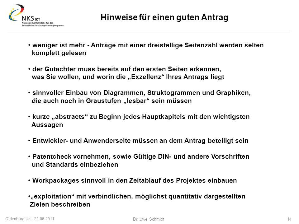 Dr. Uwe Schmidt 14 Oldenburg Uni, 21.06.2011 Hinweise für einen guten Antrag weniger ist mehr - Anträge mit einer dreistellige Seitenzahl werden selte