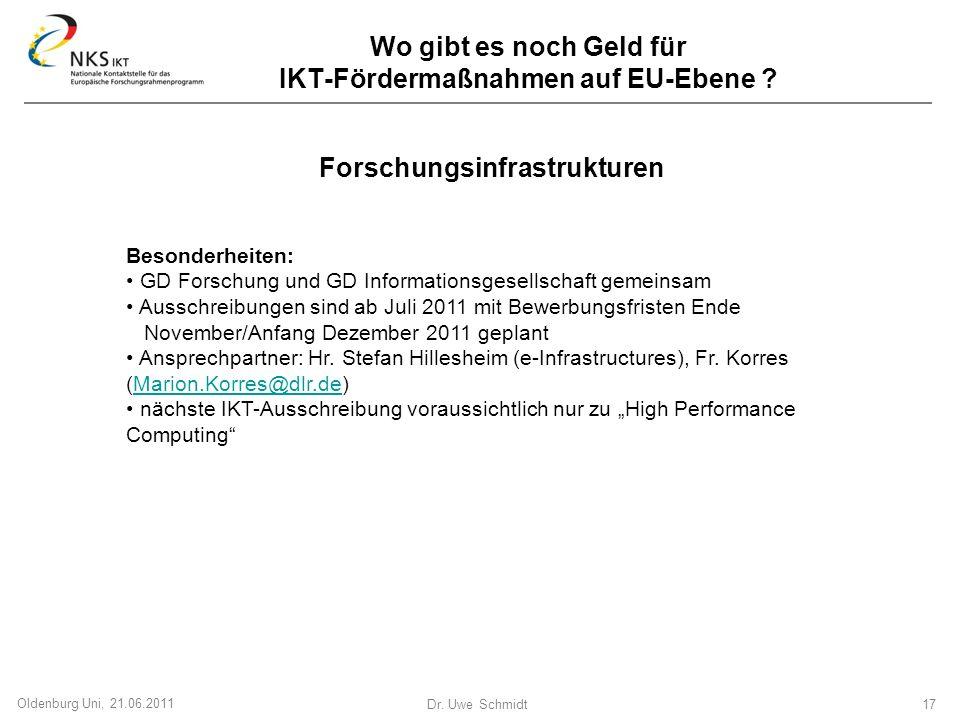Dr. Uwe Schmidt 17 Oldenburg Uni, 21.06.2011 Wo gibt es noch Geld für IKT-Fördermaßnahmen auf EU-Ebene ? Forschungsinfrastrukturen Besonderheiten: GD