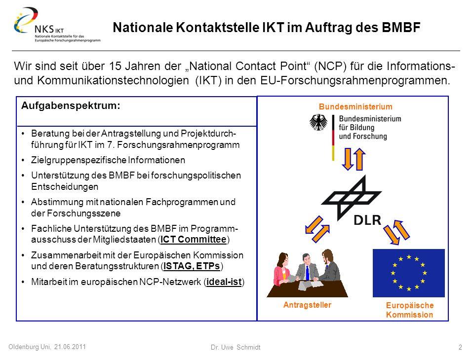 Dr. Uwe Schmidt 2 Oldenburg Uni, 21.06.2011 Wir sind seit über 15 Jahren der National Contact Point (NCP) für die Informations- und Kommunikationstech