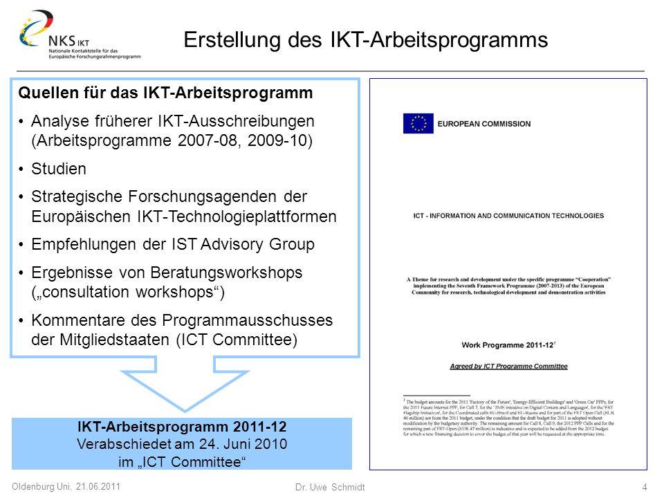 Dr. Uwe Schmidt 4 Oldenburg Uni, 21.06.2011 Quellen für das IKT-Arbeitsprogramm Analyse früherer IKT-Ausschreibungen (Arbeitsprogramme 2007-08, 2009-1