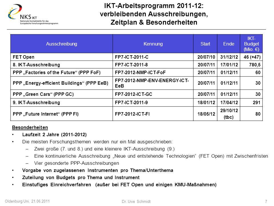 Dr. Uwe Schmidt 7 Oldenburg Uni, 21.06.2011 IKT-Arbeitsprogramm 2011-12: verbleibenden Ausschreibungen, Zeitplan & Besonderheiten Besonderheiten Laufz