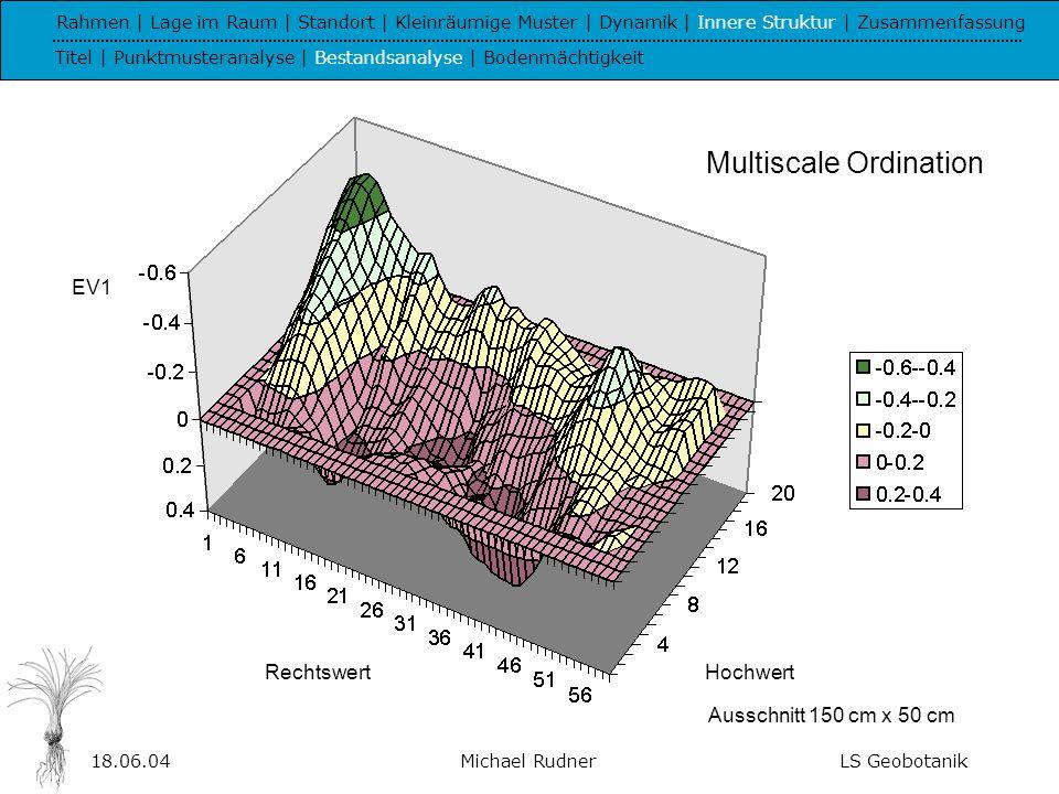 18.06.04Michael RudnerLS Geobotanik Rahmen | Lage im Raum | Standort | Kleinräumige Muster | Dynamik | Innere Struktur | Zusammenfassung Titel | Punktmusteranalyse | Bestandsanalyse | Bodenmächtigkeit Multiscale Ordination