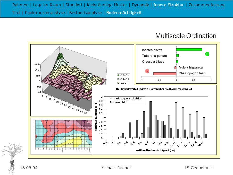 18.06.04Michael RudnerLS Geobotanik VII - Zusammenfassung Rahmen | Lage im Raum | Standort | Kleinräumige Muster | Dynamik | Innere Struktur | Zusammenfassung Titel | Ergebnisse | Ausblick | Schluss