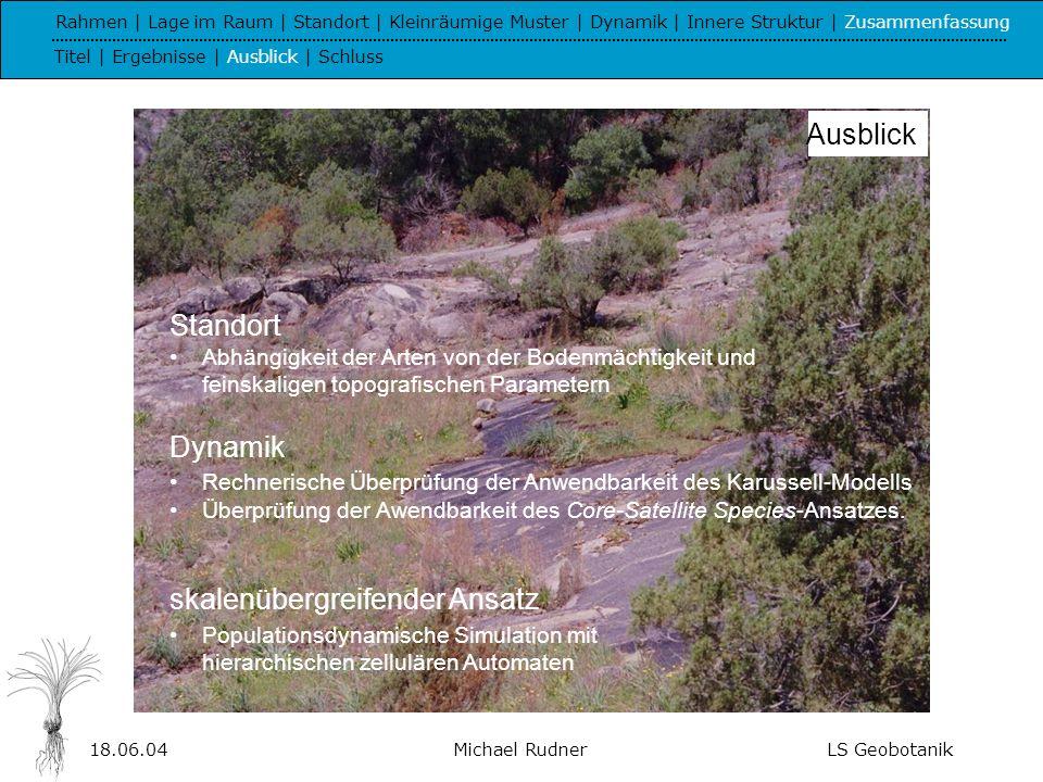 18.06.04Michael RudnerLS Geobotanik Ich danke allen, die zum Gelingen dieser Arbeit beigetragen haben.