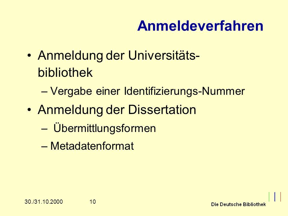 1030./31.10.2000 Anmeldeverfahren Anmeldung der Universitäts- bibliothek –Vergabe einer Identifizierungs-Nummer Anmeldung der Dissertation – Übermittl