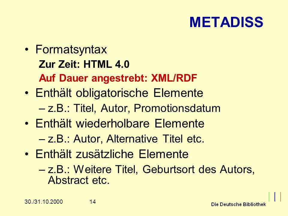 1430./31.10.2000 METADISS Formatsyntax Zur Zeit: HTML 4.0 Auf Dauer angestrebt: XML/RDF Enthält obligatorische Elemente –z.B.: Titel, Autor, Promotion