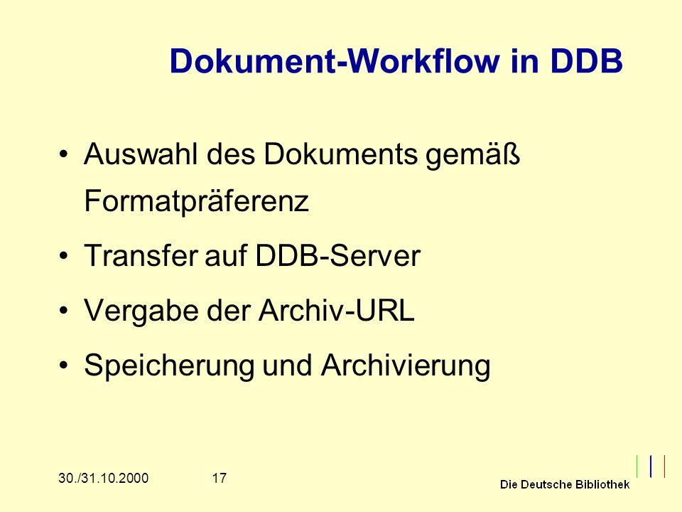 1730./31.10.2000 Dokument-Workflow in DDB Auswahl des Dokuments gemäß Formatpräferenz Transfer auf DDB-Server Vergabe der Archiv-URL Speicherung und Archivierung