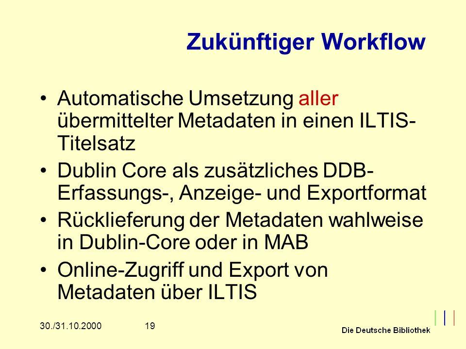 1930./31.10.2000 Zukünftiger Workflow Automatische Umsetzung aller übermittelter Metadaten in einen ILTIS- Titelsatz Dublin Core als zusätzliches DDB- Erfassungs-, Anzeige- und Exportformat Rücklieferung der Metadaten wahlweise in Dublin-Core oder in MAB Online-Zugriff und Export von Metadaten über ILTIS