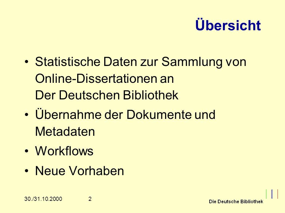 230./31.10.2000 Übersicht Statistische Daten zur Sammlung von Online-Dissertationen an Der Deutschen Bibliothek Übernahme der Dokumente und Metadaten