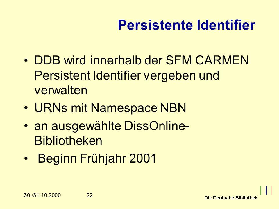 2230./31.10.2000 Persistente Identifier DDB wird innerhalb der SFM CARMEN Persistent Identifier vergeben und verwalten URNs mit Namespace NBN an ausgewählte DissOnline- Bibliotheken Beginn Frühjahr 2001