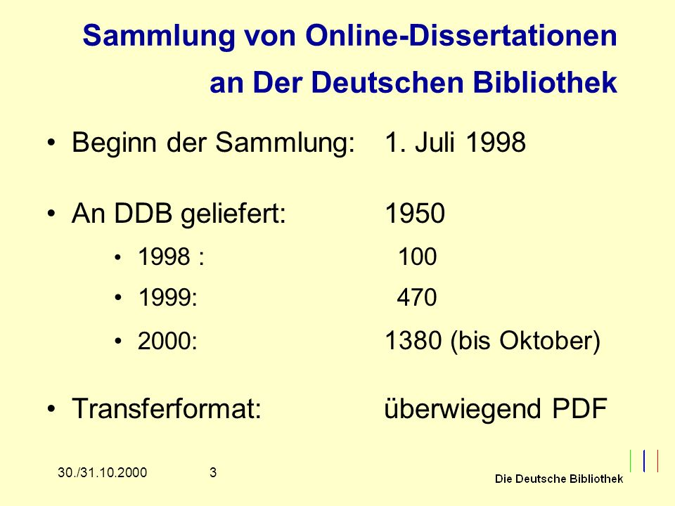 1430./31.10.2000 METADISS Formatsyntax Zur Zeit: HTML 4.0 Auf Dauer angestrebt: XML/RDF Enthält obligatorische Elemente –z.B.: Titel, Autor, Promotionsdatum Enthält wiederholbare Elemente –z.B.: Autor, Alternative Titel etc.