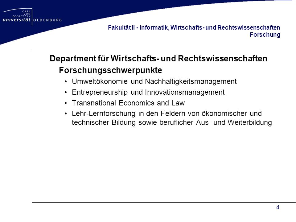 5 Fakultät II - Informatik, Wirtschafts- und Rechtswissenschaften Studiengänge Department für Wirtschafts- und Rechtswissenschaften –B.A.