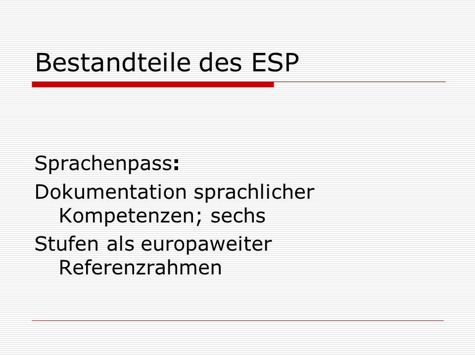 Bestandteile des ESP Sprachenpass: Dokumentation sprachlicher Kompetenzen; sechs Stufen als europaweiter Referenzrahmen