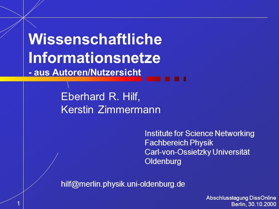 The Future of Mathematical Communication 1999 Berkeley, California, December 1-5, 1999 www.physik.uni-oldenburg.de/MetaPhys/ 12