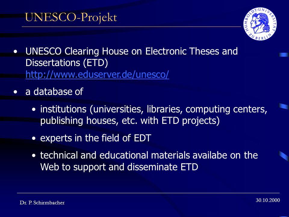 30.10.2000 UNESCO-Projekt Dr.P.
