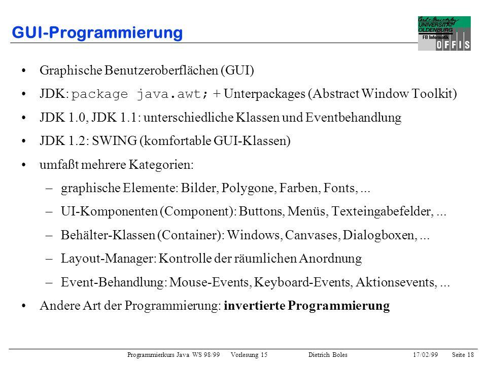Programmierkurs Java WS 98/99 Vorlesung 15 Dietrich Boles 17/02/99Seite 18 GUI-Programmierung Graphische Benutzeroberflächen (GUI) JDK: package java.awt; + Unterpackages (Abstract Window Toolkit) JDK 1.0, JDK 1.1: unterschiedliche Klassen und Eventbehandlung JDK 1.2: SWING (komfortable GUI-Klassen) umfaßt mehrere Kategorien: –graphische Elemente: Bilder, Polygone, Farben, Fonts,...