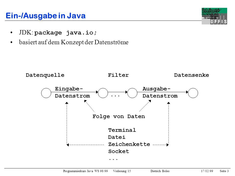 Programmierkurs Java WS 98/99 Vorlesung 15 Dietrich Boles 17/02/99Seite 3 Ein-/Ausgabe in Java JDK: package java.io; basiert auf dem Konzept der Datenströme DatenquelleFilterDatensenke Eingabe- Datenstrom Ausgabe- Datenstrom Folge von Daten Terminal Datei Zeichenkette Socket...