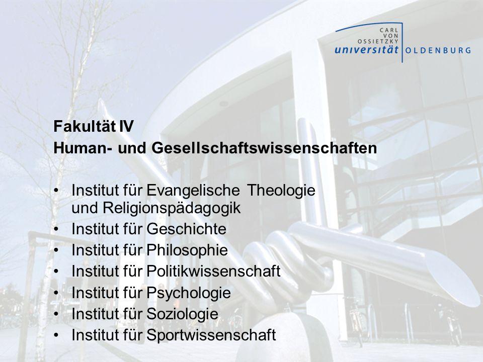 Fakultät IV Human- und Gesellschaftswissenschaften Institut für Evangelische Theologie und Religionspädagogik Institut für Geschichte Institut für Phi
