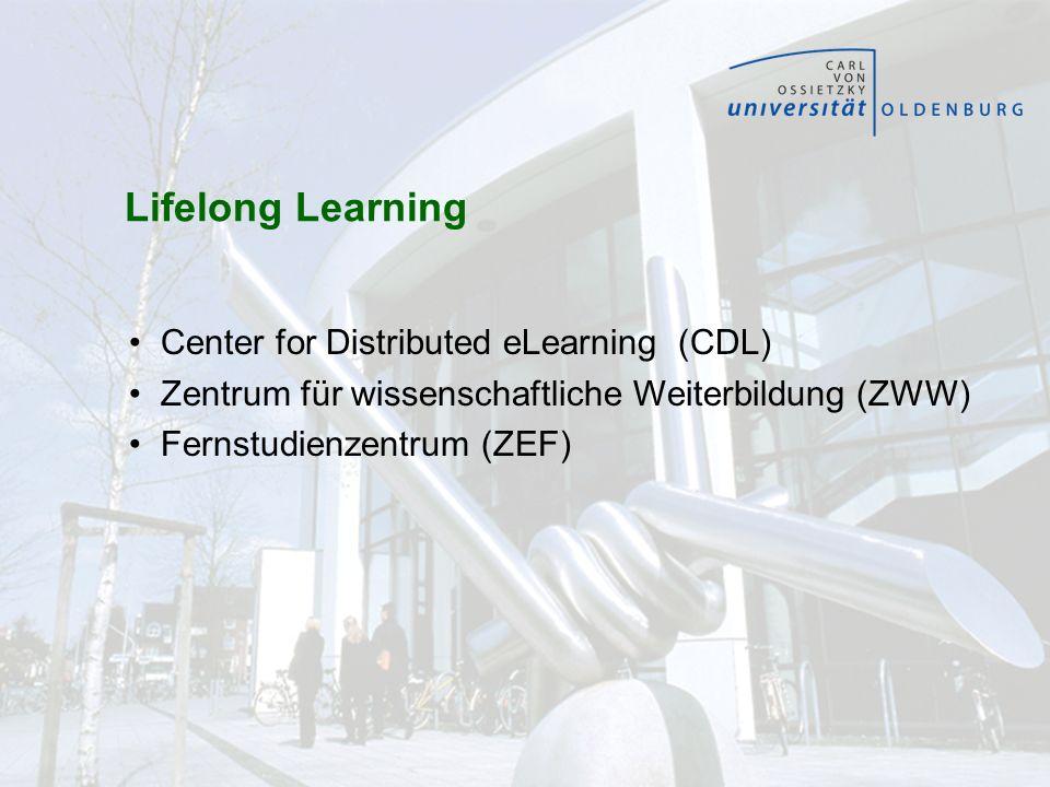 Lifelong Learning Center for Distributed eLearning (CDL) Zentrum für wissenschaftliche Weiterbildung (ZWW) Fernstudienzentrum (ZEF)