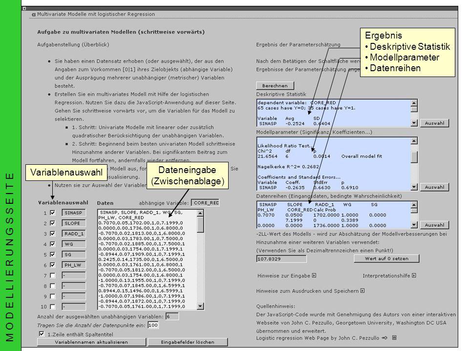 02.07.2003AGIT Rudner, Schröder, Biedermann & MüllerGIMOLUS Dateneingabe (Zwischenablage) VariablenauswahlErgebnis Deskriptive Statistik Modellparamet