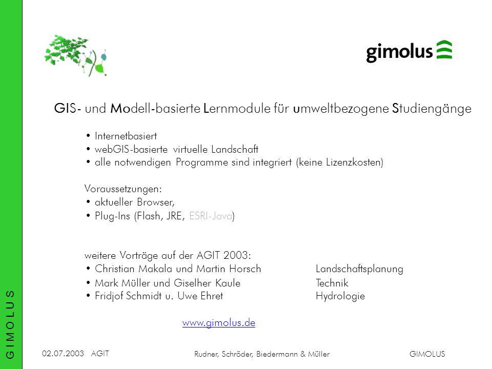 02.07.2003AGIT Rudner, Schröder, Biedermann & MüllerGIMOLUS GIS- und Modell-basierte Lernmodule für umweltbezogene Studiengänge Internetbasiert webGIS