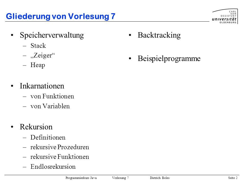Programmierkurs Java Vorlesung 7 Dietrich Boles Seite 33 Beispielprogramm 5 Türme von Hanoi: public class Hanoi { public static void main(String[] args) { int hoehe = Terminal.readInt(); verlegeTurm(hoehe, 1, 3, 2); } public static void verlegeTurm(int hoehe, int von, int nach, int ueber) { if (hoehe > 0) { verlegeTurm(hoehe-1, von, ueber, nach); Terminal.out.println(von + - + nach); verlegeTurm(hoehe-1, ueber, nach, von); } } } Gegeben: 3 Pfosten mit n Scheiben Ziel: Lege alle n Scheiben von 1 nach 3 Restriktion 1: immer nur eine Scheibe bewegen Restriktion 2: niemals größere auf kleinere Scheibe 123