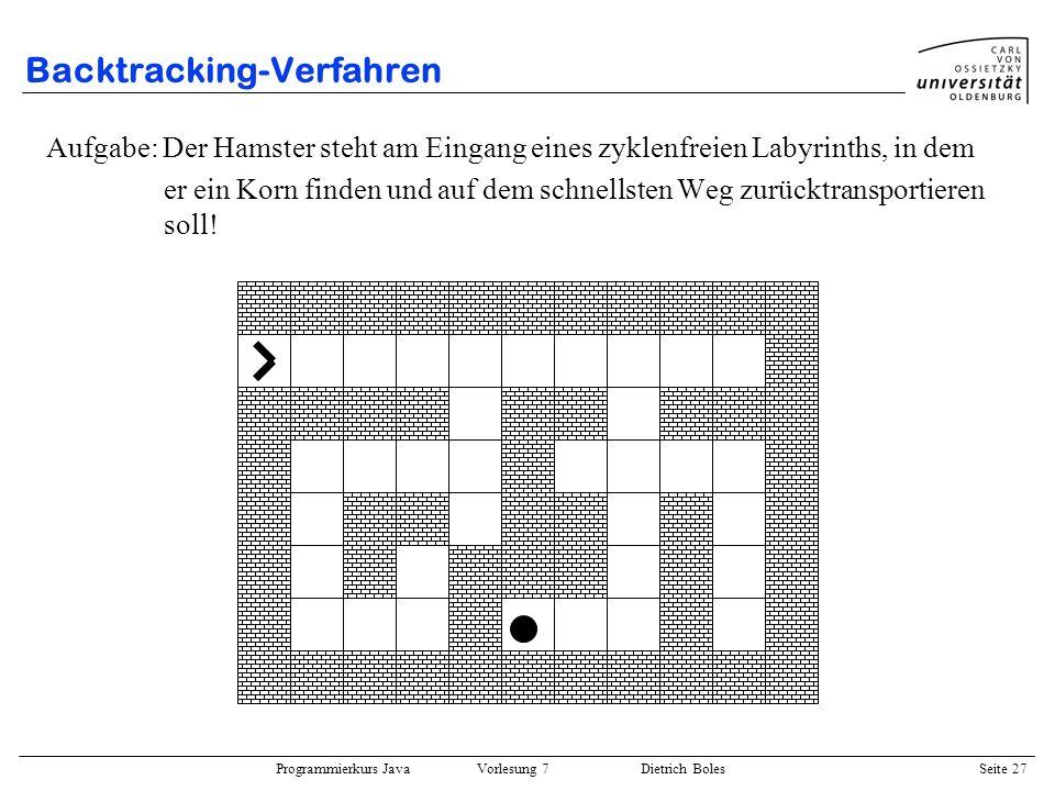 Programmierkurs Java Vorlesung 7 Dietrich Boles Seite 27 Backtracking-Verfahren Aufgabe: Der Hamster steht am Eingang eines zyklenfreien Labyrinths, i