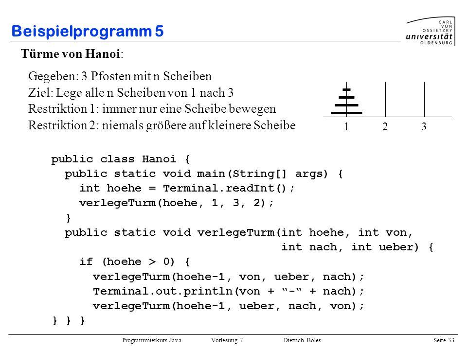 Programmierkurs Java Vorlesung 7 Dietrich Boles Seite 33 Beispielprogramm 5 Türme von Hanoi: public class Hanoi { public static void main(String[] arg