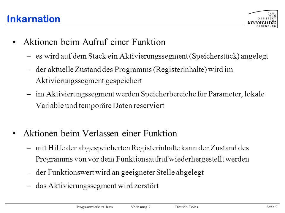 Programmierkurs Java Vorlesung 7 Dietrich Boles Seite 30 Beispielprogramm 2 Berechnung einer Fibonacci-Zahl: public static int fib(int n) { if (n <= 2) return 1; else return fib(n-1) + fib(n-2); } 1 falls n = 1 fib(n) = 1 falls n = 2 fib(n-1) + fib(n-2) sonst {