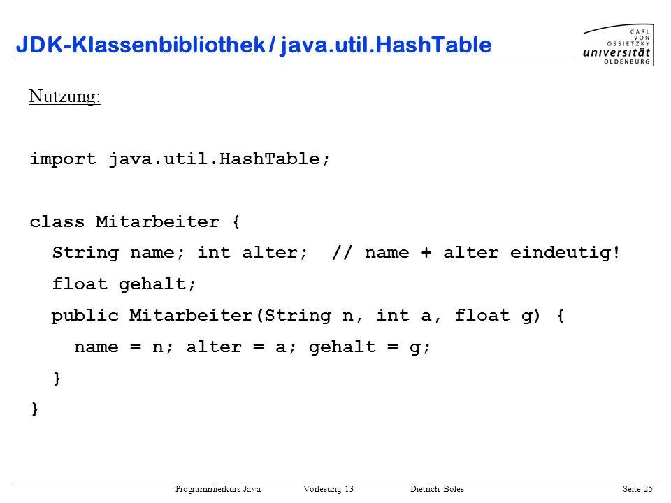 Programmierkurs Java Vorlesung 13 Dietrich Boles Seite 26 JDK-Klassenbibliothek / java.util.HashTable class MitarbeiterKey { String name; int alter; public MitarbeiterKey(String n, int a) { name = n; alter = a; } public int hashCode() { // wird von Object geerbt int hash = 0; for (int i=0; i<name.length(); i++) hash += name.charAt(i); return hash + alter; } public boolean equals(Object obj) { MitarbeiterKey key = (MitarbeiterKey)obj; return name.equals(key.name) && (alter == key.alter); }
