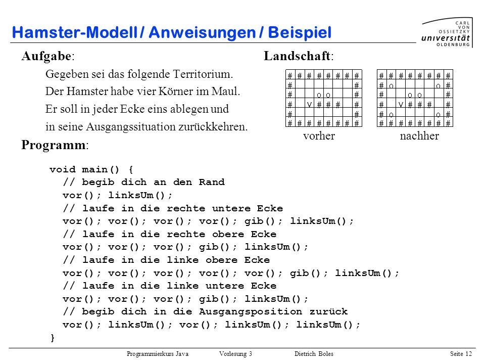 Programmierkurs Java Vorlesung 3 Dietrich Boles Seite 12 Hamster-Modell / Anweisungen / Beispiel Aufgabe: Landschaft: Gegeben sei das folgende Territo